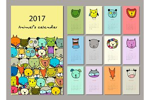 Funny animals, calendar 2017 design