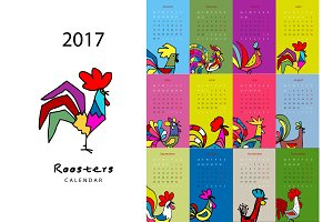 Rooster calendar 2017 for your