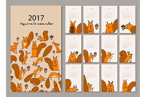 Squirrel calendar 2017 design