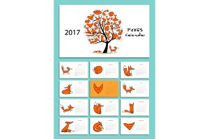 Funny foxes. Design calendar 2017