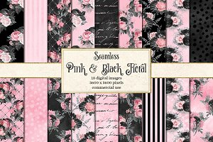 Pink and Black Floral Digital Paper