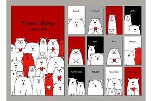 Funny white bears family. Design