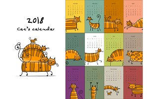 Funny striped cats. Design calendar