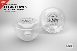 Clear Dome Bowls Packaging Mockup