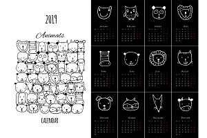 Funny animals, calendar 2019 design