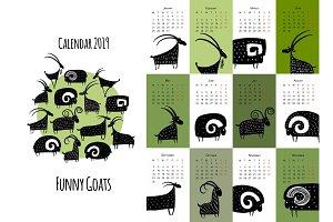 Funny goats, calendar 2019 design