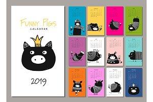 Funny pigs, symbol 2019. Calendar