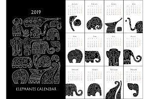 Ornate elephants. Calendar 2019