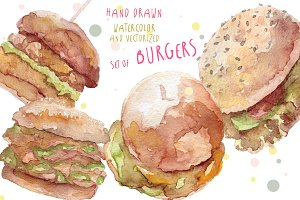 Watercolor burgers hand drawn set