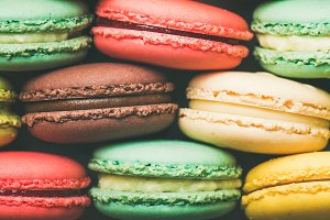 Colorful French macaroons cookies