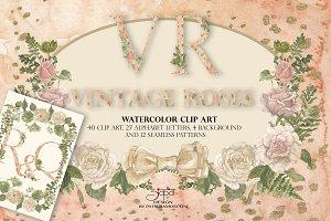 Vintage roses - clip art