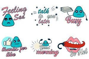 Cartoon Text Stickers Illustration