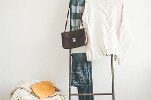 Knitwear on wooden background