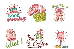 Cartoon Man Text Sticker Set