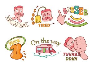 Illustration Of Man Text Stickers