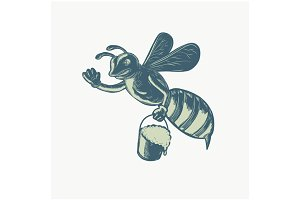 Honey Bee Waving With Pail of Honey