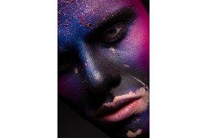 Art man make up, multicolor paint