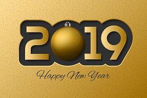 Golden realistyc 2019 card design