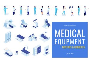 Isometric medical equipment &doctors