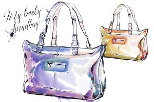 Watercolor painting of purse, sac