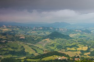 View from San Marino on Italy