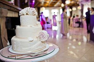 Delicious white and beige wedding ca