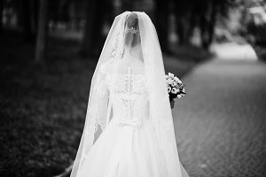 Portrait of a beautiful bride walkin
