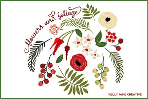 Christmas Flowers & Foliage - vector