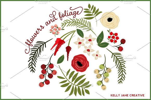 Christmas flowers foliage vector illustrations