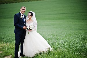 Beuatiful romantic wedding couple wa