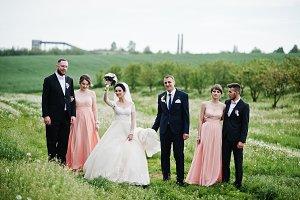 Groomsmen with bridesmaids and weddi