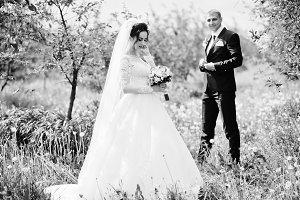Fabulous wedding couple having their
