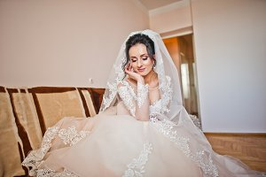 Portrait of a bride in beautiful whi