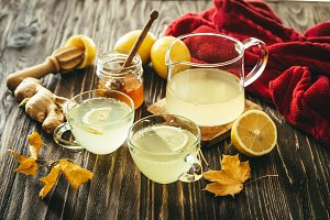 Autumn hot drink - ginger, lemon