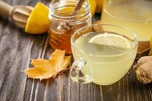 Autumn hot drink - ginger, lemon