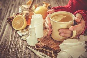 Medical care concept - ginger honey