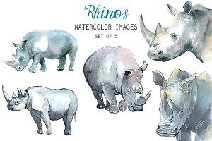 Watercolor Rhinos Clipart