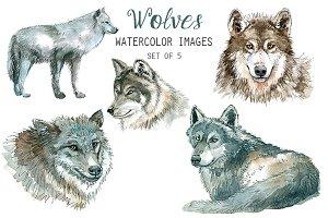 Watercolor Wolves Clipart