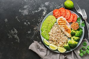 Healthy diet food quinoa, grilled