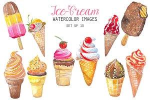 Watercolor Ice-Cream Clipart
