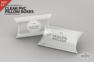 Clear Pillow Boxes Packaging Mockup