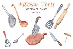 Watercolor Kitchen Tools Clipart