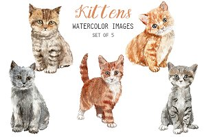 Watercolor Kittens Clipart