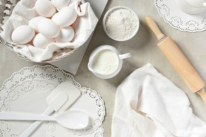 White kitchen items for baking