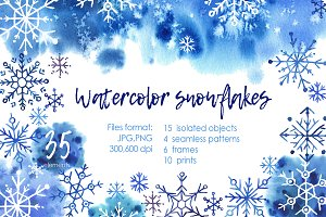 Watercolor snowflakes and spots!