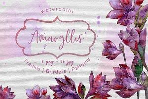 Purple amaryllis PNG watercolor set
