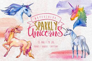 Watercolor Sparkly unicorns PNG set