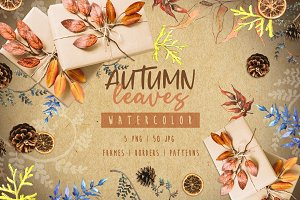 Watercolor autumn leaves png