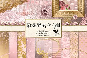 Blush Pink and Gold Graphics