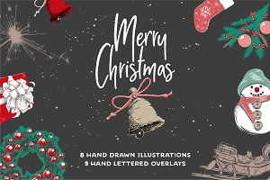 Christmas elements and lettering